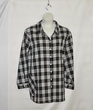 Joan Rivers Plaid Shirt with Back Button Detail Size 3X Black