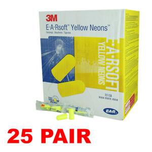 3M 312-1250 Yellow Neon Disposable Earplugs (25 Pair)