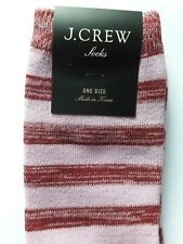 New J. CREW Pink & Red Striped Cotton-Blend Trouser SOCKS, Comfy AND Cute!