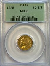 PCGS MS63 1928 $2.5 Indian Head Gold Coin.! OGH.! Choice BU.!