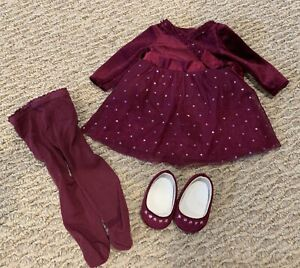 American Girl Today JLY Sparkly Plum Outfit: Dress Shoes and matching Tights