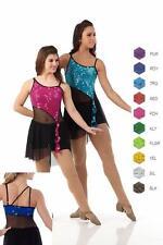 Glitter Dance Costume Boy Shorts Sequin Biketard Mesh Skirt Unitard Clearance