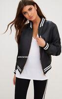 Women's Bomber Jacket Long Sleeve Sports Leisure Casual Wear Fleece Lining New
