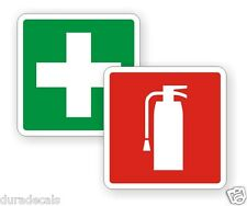 2 inch Fire Extinguisher / First Aid Kit on Board Vinyl Decals / Stickers Pair