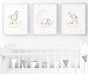 Pink Elephant Nursery Print - Set Of 3 - Baby Room Wall Art - Nursery Decor