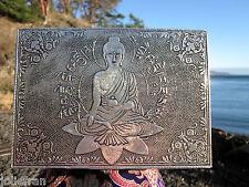 RARE EMBOSSED MEDICINE BUDDHA & MANTRA MOTIF SILVER BOX TIBETAN BUDDHIST NEW