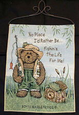 Boyds Bears Summer on Bear Pond Fishing Tapestry Bannerette Wall Hanging