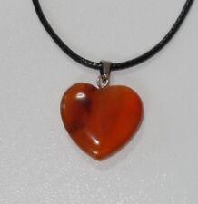Echtstein Anhänger für Halskette - NEU - Achat Stein Herz Heart Orange Natur 036