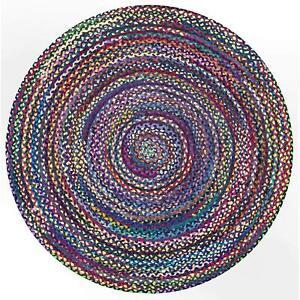 Handmade Dhurrie Indien Cotton Braided Floor Reversible Round Rag Rug Jute Mat