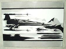 Peinture sur toile Star Wars Episode 7 Remorque x wing combattants N&B art 16x12 pouces