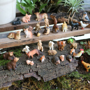 Resin Miniature Fairy Garden Mini Forest Farm Animals Realistic Tiny Figurines