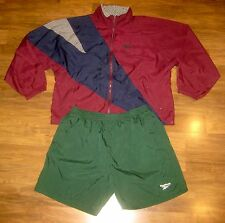 Vtg 80s 90s REEBOK Windbreaker Color Block MENS XL XXL Track suit Jacket Shorts