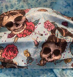 Sugar Skull Audrey Hepburn Mask.Homemade.100% Cotton. Made In USA.Ship Fast.