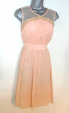 BNWT Little Mistress Embellished Peach Prom Evening Occasion Dress 12 NEW