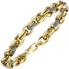 Pulsera de Cadena con 36 Diamantes Brillantes,Oro 375 Amarillo Joyas Brazo,20cm