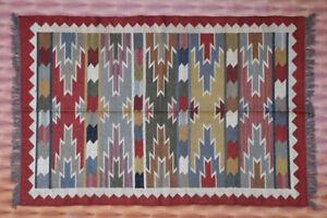 Hand Woven Wool Jute Rug Afghan Multicolor Kilim Rug Floor Carpet Kelim 4x6 feet