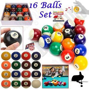 """16pcs Spots & Stripes 2"""" Inch Pool Tables Balls Set w/ 2"""" Snooker Cue Ball Pub"""