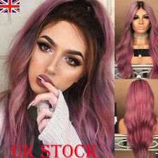 UK Womens Ladies Fashion Full Long Hair Wig Curly Real Synthetic Hair Wavy Ombre