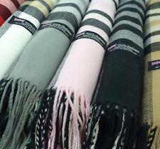 Women's Winter Cashmere Shawl Warm Poncho Blanket Lady Scarf Tartan Stripe 26X74