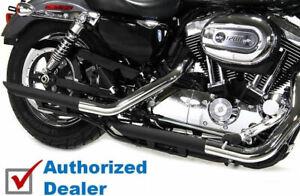 """Black 2"""" Down Slash Drag Muffler Slip On Exhaust Set Harley Sportster 2014-2021"""