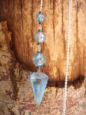 Magical Aqua Aura Quartz Crystal Pendulum-infused with 24 K Gold User Friendly!