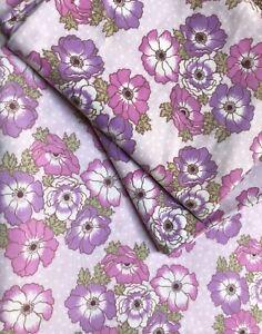 Vintage 60s 70s St Michael Purple Pink Flower Power Double Flat Sheet & 2 P/Case