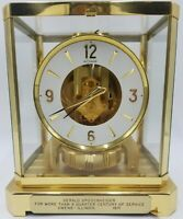 Vintage Swiss Jaeger Lecoultre Atmos Heritage 24K Gold Plated Clock - Working