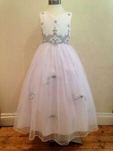 New White+Silver Flowergirl Pageant  Communion Wedding Bridesmaid Dress Sz 7-14