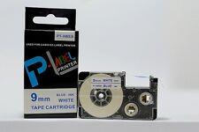 "Compatible Casio XR-9WEB Blue on White 9mm 8m Label Tape 3/8x 26"" KL430 XR-9WEB1"