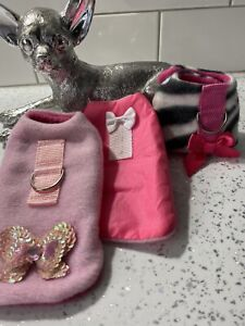 PUPPY CHIHUAHUA PET COAT JACKET HARNESS HANDMADE BUNDLE X 3‼️‼️