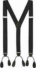 Luther Pike Seattle Suspenders for Men Leather Button End Elastic Tuxedo Back