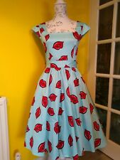 Lady Vintage London Blue & Sweet Red Lips Swing Dress Size 8