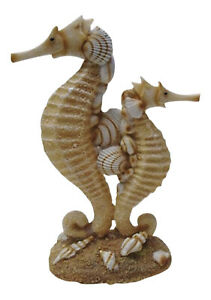 Coastal Seahorse Mom and Baby Sand and Seashells Resin Figurine
