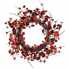 Nearly Natural 4813 Plum Blossom Wreath- 24-Inch- Red NEW