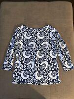 TALBOTS TEE Women's Scoop Neck 3/4 SLEEVE Cotton Knit T SHIRT Black/White L