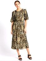 NWT M&S Per Una Dress Animal Print Cold Shoulder Shift Midi Plus Size 22