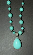 """Vtg WK Whitney Kelly 925 Sterling Turquiose Beaded Toggle Necklace 34"""" Signed"""
