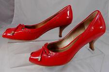 Franco Sarto L-BLESS Womens Peep Toe Heels 7.5 M Leather Slip On Peep Toe Red