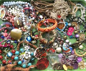 Job Lot Vintage 1980s Costume Jewellery Bundle Brooch Necklace Earrings Bracelet