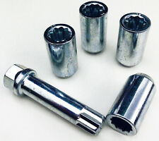 4 x alloy wheel Tuner Slim nuts bolts. M14 x 1.5, 17mm Hex star key, Taper seat