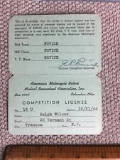 1948 AMA American Motorcycle Riders Mutual Benevolent Assoc Competition License