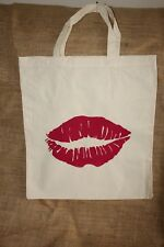 LUSCIOUS LIPS Calico Shopping Bag - HAND SCREEN PRINTED By LOCAL ARTISAN.