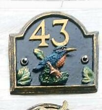 Handmade Kingfisher House/Wall Plaque - Fits Up To Any 2 Numbers