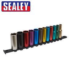 Sealey Premier Douilles Longues 12 Pièces 1cm Dr 6point 8mm-19mm Code Couleur