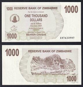 Zimbabwe 1000 dollars 2007 FDS/UNC  A-02