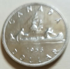 1956 Canada Silver One Dollar Coin. UNC. KEY DATE NICE GRADE (ID = RJ892)