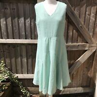 Hobbs Naylor Eau de Nil Mint Linen Fit & Flare Dress 14 £129.00 Worn once