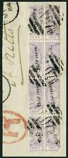 More details for dominica-1883 ½d on half 1d lilac.  a fine used block of 8 on piece sg 12