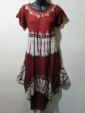 Dress Fits 1X 2X 3X Plus Rust Red Black Tie Dye Tunic Sequins A Shaped  NWT G157