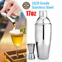 17 Ounce Cocktail Shaker Bar Set -Martini Kit with Double Sizes Measuring Jigger